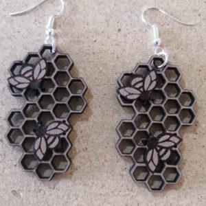 Wooden Honeycomb Earings | The Adaptable Bee