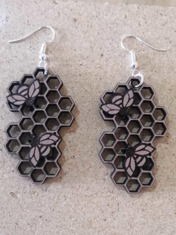 Wooden Honeycomb Earings | The Adaptable Bee