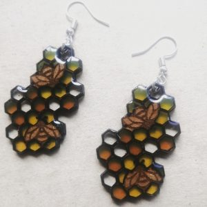 Resin Honeycomb with Bee's Earrings