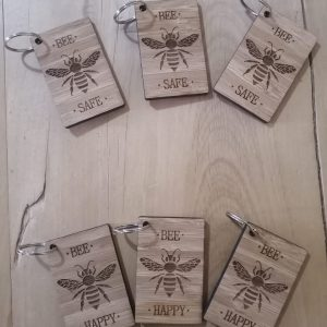 Bee Safe Wooden Key Rings